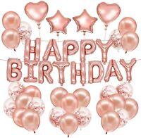 ROSE GOLD Balloons Happy Birthday Decoration BANNER Bunting Confetti Balloon