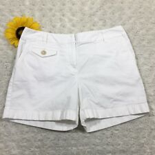 Ann Taylor Womens Khaki Casual Short Shorts Size 4 Petite Stretch White fr3310