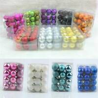 24PCS 30mm Christmas Tree Balls Small Bauble Hanging Home Party Ornament Decor