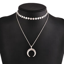 Dainty Gold Silver Double Layer Discs Chain Crescent Pendant Choker Necklace
