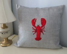 """Home Decor 18"""" Embroidered Ocean Red Lobster Decorative Pillow Gray Case Gift"""