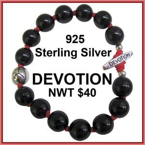 Sterling Silver DEVOTION Bracelet Black Bead Spiritual Inspirational Halloween