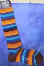 New & Lingwood Men's Medium Cotton Long Socks Italian Bold Multi Stripe Brown