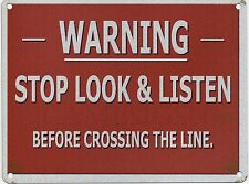 Warning Trains Crossing Miniature Model Railway Line Large Metal/Tin Sign