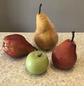 Vintage Italian Marble Fruit Three Pears One Red Blush Alabaster & Green Apple