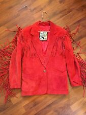 Women's Size Medium Winlit Western Cowgirl Red Suede Leather Fringe Coat