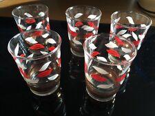 5 X Retro 80's 70's 60's Vintage Red & White Leaf Pattern Shot Glasses
