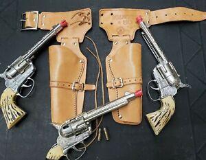Vintage Mattel Fanner 50 Double Cap Gun Set w/ THREE PISTOLS & Bullets