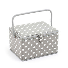 Sewing Basket - Large Sewing Box - Grey Linen Polka Dot - MRL268
