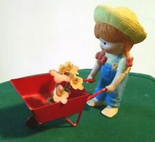 Vintage Enesco (Japan) Country Cousins Katie with Red Metal Wheelbarrow/Flowers