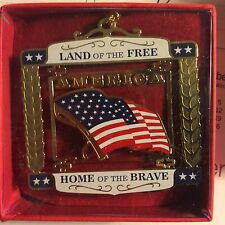 CHRISTMAS  ORNAMENT LAND OF THE FREE HOME OF THE BRAVE BRASS