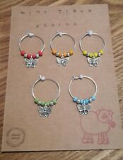 wine glass charm rings. set of 5. Butterflies. Mixed colour gift set