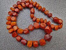 113g Amber Necklace Natur Bernstein Kette Butterscotch Karamell,Königsberg c1930