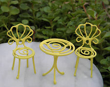 Miniature Dollhouse FAIRY GARDEN ~ TINY Yellow Metal Bistro Table & Chairs ~ NEW