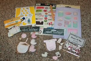 BABY GIRL SCRAPBOOK Craft Stickers LOT 63 JOLEE'S BOUTIQUE + MORE