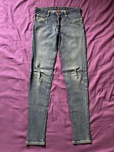 Vintage Dogpile Stretch Jeans Size 32 Men's Blue Denim Punk Rock Broken Bones