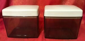 VINTAGE PAIR SMOKE & BEIGE HERB / STORAGE SMALL KITCHEN CONTAINERS  60S 70S
