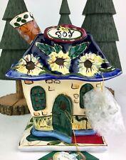 "Blue Sky Clayworks Heather Goldminc Candle House Holder Pansy House ""Joy"" Nib"