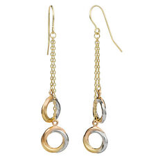 10K TRI-COLOR GOLD ELEGANT DOUBLE CIRCLE DROP DANGLE EARRINGS