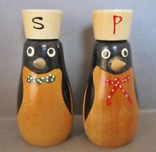 Fun Pair of 50's Wooden Penguin Salt and Pepper Shakers