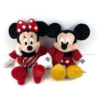 Disney Store 2010 Mickey & Minnie Mouse Holiday Winter Christmas Plush Dolls