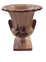 VTG Italian Pottery Pink Planter Vase Painted Villeta Scene Mid Century Modern