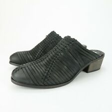 Sbicca Carrizo Womens Woven Black Leather Heel Pump Mules Sandals Size 9 M