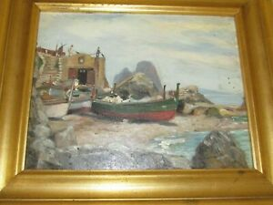 Vintage Seascape Nautical Painting on Board Framed Early 20th C