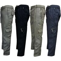 Mens Fleece Lined Winter Thermal Elasticated Work Trousers Cargo Combat Pants