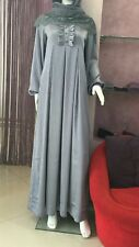 ✿Girl in Hijab Silk Long Maxi Lined Dress Abaya Muslim Jilbab Grey Size 14-16