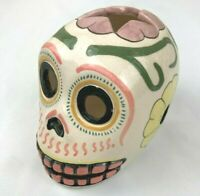 Skull Tealight Candle Holder Ceramic Hand Made & Painted Day of the Dead Peru