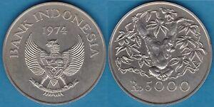 Indonesia 1974 5000 Rupiah Orangutan Silver KM-40 UNC #108 - US Seller