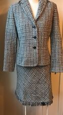 Womens Wool Blend Skirt Suit Apostrophe Brand Gray size P8   RT