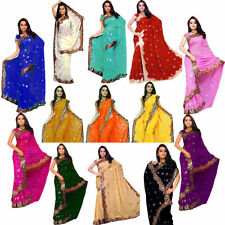 Wholesale Lot of 3 Saree Wedding Bollywood Sequin Embroidery Sari Select any 3