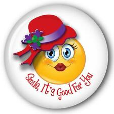 """12 SMILE IT'S GOOD FOR YOU SMILEY FACE RED HAT PURSE MIRRORS W/ ORGANZA BAG 3"""""""