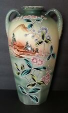 Satsuma-style Moriagi Pottery Japanese Vase -Handpainted 12+ Inches Tall!