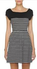 Cotton Skater Short/Mini Striped Dresses for Women