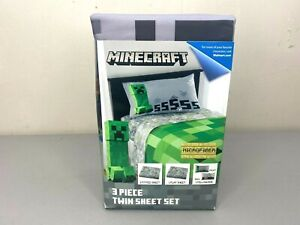 "Minecraft ""Creeper"" 3 Piece Twin Sheet Set Bedding (Brand New)"