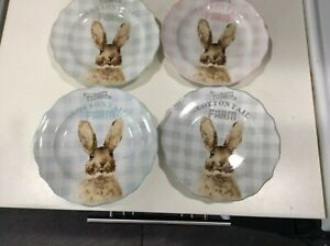 222fifth Cottontail Farm Easter Bunny 4 New Appetizer/dessert Plates