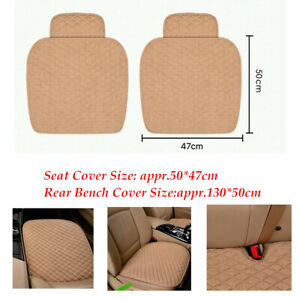 Linen Fabric Car Seat Cover Four Seasons Front Rear Beige Cushion Breathable