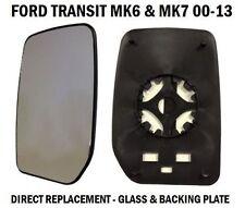 FRONT DOOR WING MIRROR GLASS FORD TRANSIT MK6 MK7 2000-2014 PASSENGER LEFT SIDE