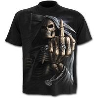 SPIRAL DIRECT BONE FINGER T-Shirt Biker/Grim Reaper/Skull/Goth/Top/Tee