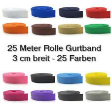 25 m Gurtband 3 cm / 30mm schwarz, weiß, rot, blau, gelb, grün, beige, orange