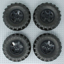 Lego 4x Genuine Technic Large Black Tyres and Wheels Hubs 107x44R 107x44mm - NEW