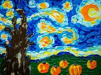 The Starry Night Pumpkins Painting Impasto Vibrant Moon Stars Village Cypresses