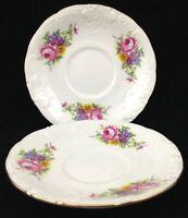 Royal Kent Poland Porcelain 2 Demitasse Saucers Only Floral Enchantment Roses