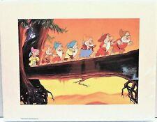 """Disney Art Print Lithograph 11x14"""" Princess Snow White & 7 Seven Dwarfs to Work"""