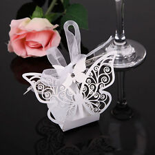 10 Romantic White Butterfly Laser Cut Party Sweet Wedding Favor Candy Gift Boxes