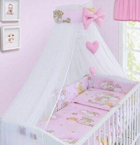 BABY 6PC BEDDING SET COTTON PILLOW DUVET BUMPER FIT COT 120x60cm Ladder Pink