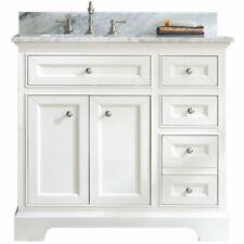 "Ari Kitchen & Bath South Bay 37"" Solid Wood Bathroom Vanity in White"